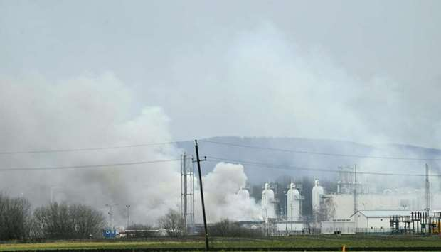 Smoke rising from Austria's main gas pipeline hub at Baumgarten, Eastern Vienna, after an explosion