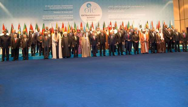 His Highness the Emir Sheikh Tamim bin Hamad Al-Thani with other heads of states, ministers and dign