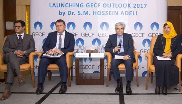 Dr Adeli (second right) with GECF experts making a presentation on 'GECF Global Gas Outlook 2017' at
