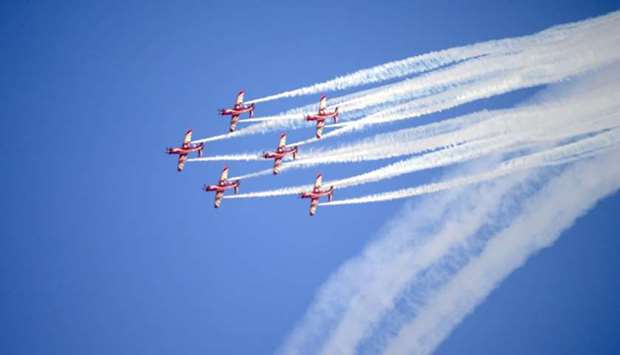 Aerobatics show by the Qatar Armed Forces