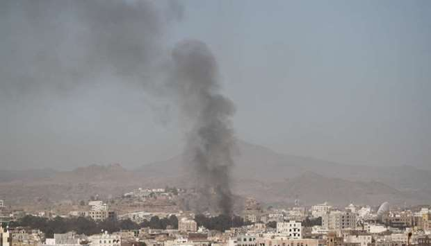 Smoke rises after an airstrike in Sanaa, Friday.  Reuters