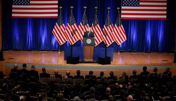 US President Donald Trump delivers remarks regarding the Administration's National Security Strategy