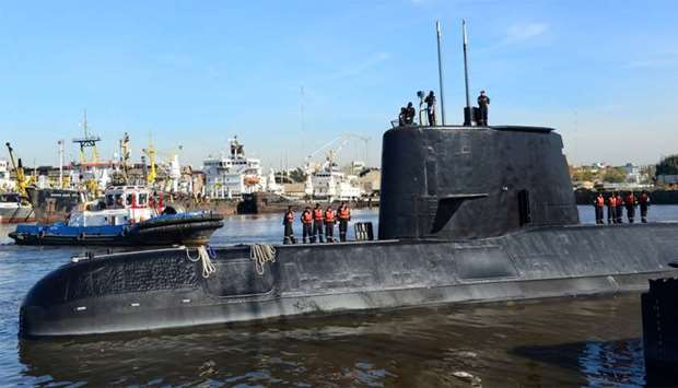 The Argentine military submarine ARA San Juan and crew are seen as they leave the port of Buenos Air