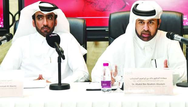 Dr Khalid bin Ibrahim al-Sulaiti (right) and Salman al-Nuami announcing details of the Mahaseel Fest