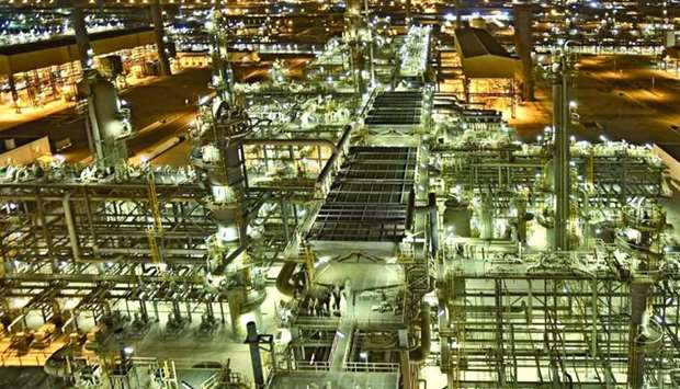 A view of RasGas LNG facilities at night (file).