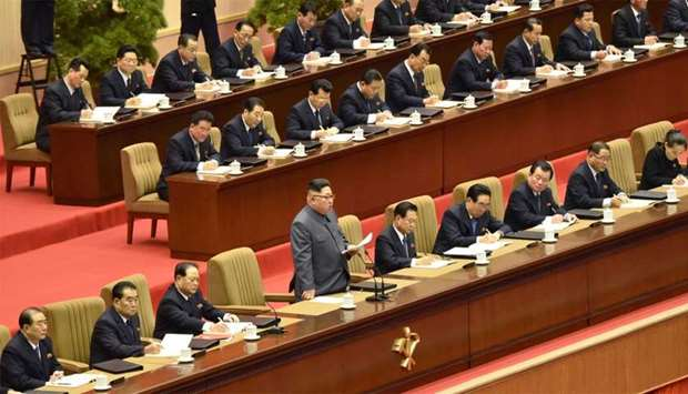 North Korean leader Kim Jong-un gives opening remarks at the 5th Conference of Cell Chairpersons of