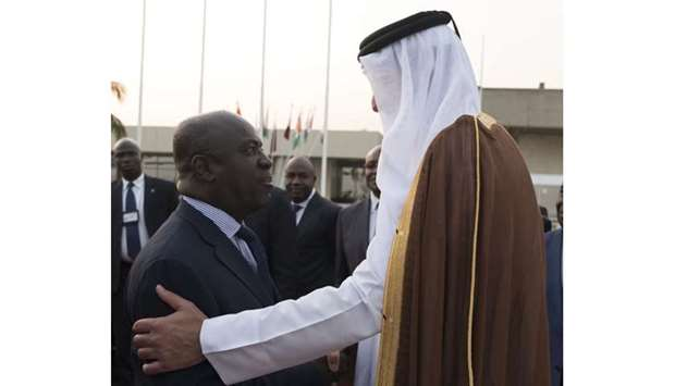 Ivory Coast Minister of Defense Hamed Bakayoko bids farewell to His Highness the Emir