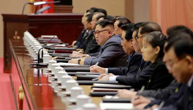 North Korean leader Kim Jong-Un (C) speaking during the second day of the 5th Conference of Cell Cha