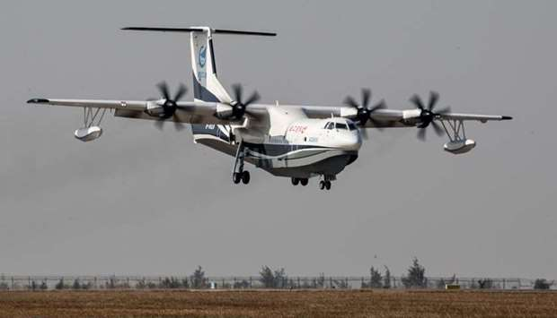 China's domestically developed AG600, the world's largest amphibious aircraft, is seen during its ma