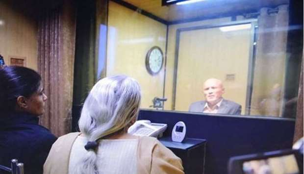 The picture released by Pakistan that shows Jadhav's mother, Avanti, and wife, Chetankul seated at a