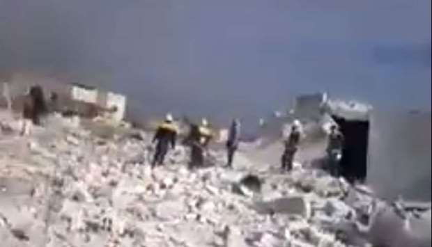 A building destroyed in airstrike in Idlib