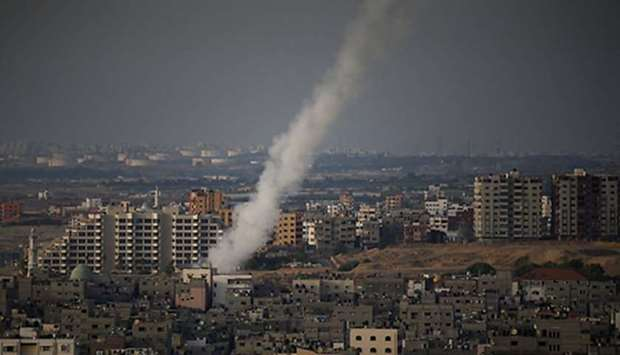 A rocket being fired from Gaza