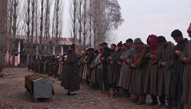 Kashmiri villagers offer funeral prayers to slain Indian paramilitary trooper Sharief-Ud-Din-ganaie