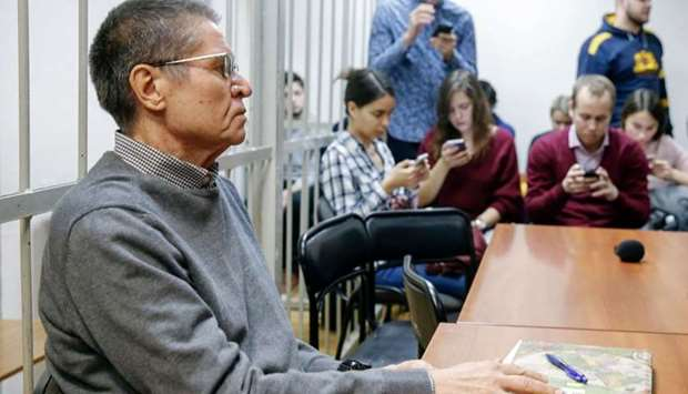 Russia's ex-economy minister Alexei Ulyukayev attends a hearing at the Zamoskvoretsky district court