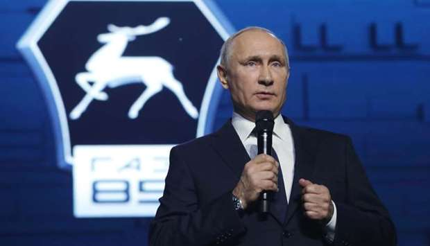 Russian President Vladimir Putin addresses workers of the GAZ factory in Nizhny Novgorod.