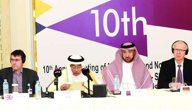 Ministry of Finance undersecretary Khalaf bin Ahmed al-Mannai delivers a speech during the opening o
