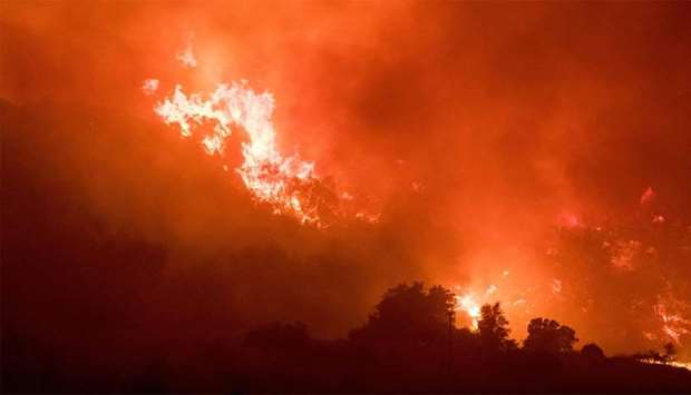 Fire burns a hillside in Ojai, California