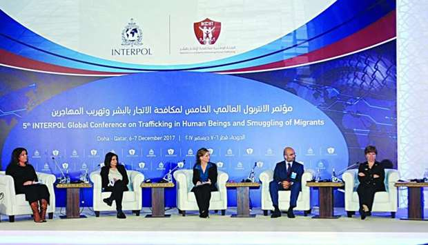The panel discussion on trafficking in children at the Interpol Global Conference in Doha. PICTURE: