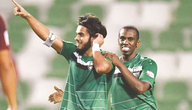 Al Ahli's Ali Ghaderi celebrates his goal against Al Rayyan yesterday.