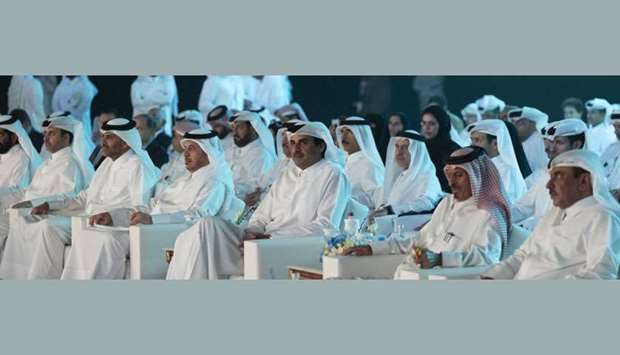 His Highness the Amir Sheikh Tamim bin Hamad al-Thani and other dignitaries attending the inaugurati
