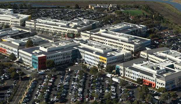 Facebook's campus is seen on the edge of the San Francisco Bay in Menlo Park, California