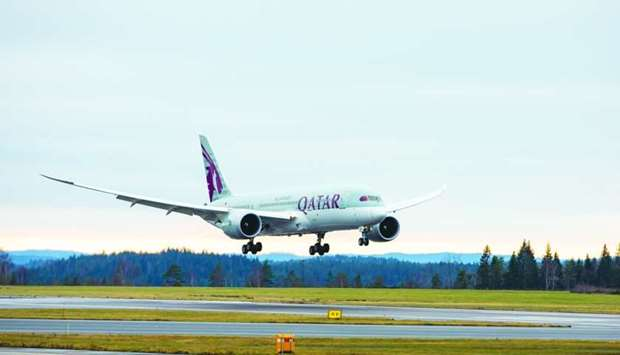 Qatar Airways flight 177 arriving at Gothenburg Landvetter Airport
