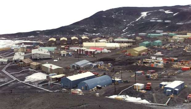 General view of McMurdo Station operated by the United States on Antarctica. The station is the bigg