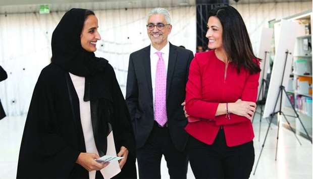 HE Sheikha Hind bint Hamad al-Thani, Ghida Fakhry and Amjad Atallah at the launch event on Thursday