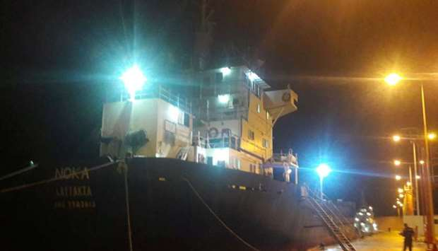 "Cargo ship ""Noka"" is seen moored following an operation of the Hellenic Coast Guard"