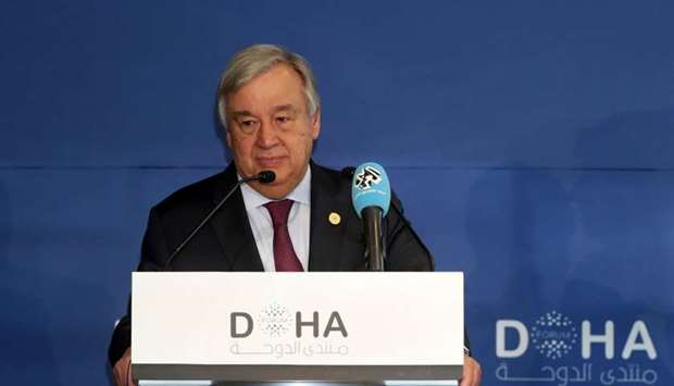 United Nations' Secretary General Antonio Guterres delivers a speech during the Doha Forum