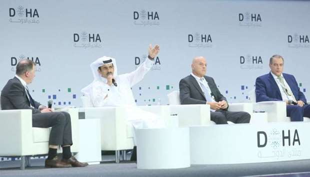 HE Saad Sherida al-Kaabi at a plenary session on 'New age energy policy: a balancing act' at the Doh