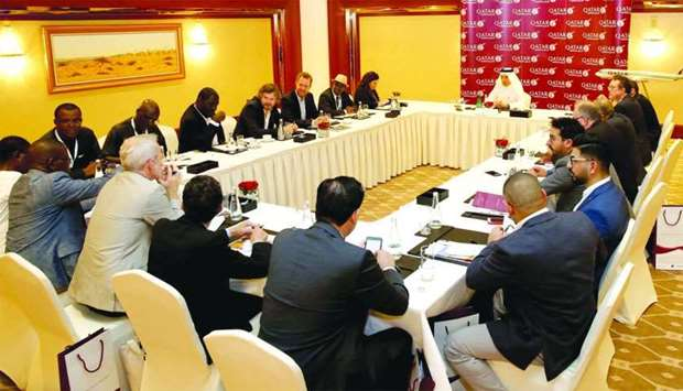 Akbar al-Baker addressing a global media roundtable hosted by Qatar Airways on the sidelines of the