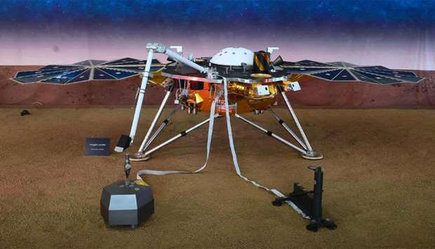 A replica of the InSight Mars Lander is on display at the NASA Jet Propulsion Laboratory (JPL) in Pa