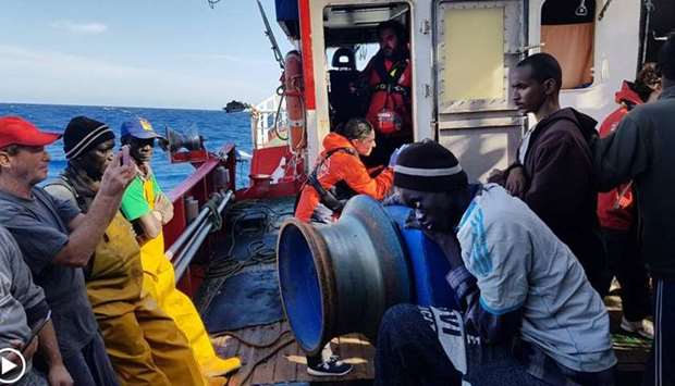 The fishing boat, Santa Madre de Loreto, rescued 12 migrants