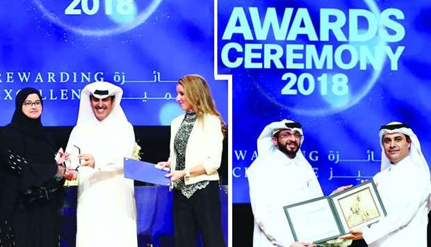 CNA-Q president Dr Khalifa al-Khalifa honouring a student at the ceremony and Oryx GTL offered four