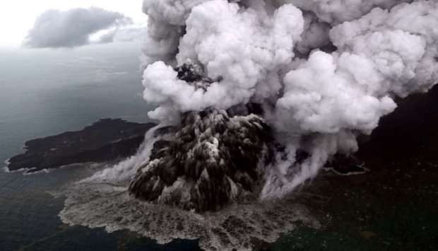 An aerial view of Anak Krakatau volcano during an eruption at Sunda Strait in South Lampung, Indones