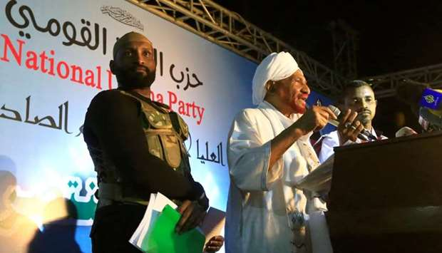 Sudanese leading opposition figure Sadiq al-Mahdi addresses his supporters