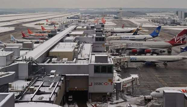Gatwick airport surrounded by snow in West Sussex