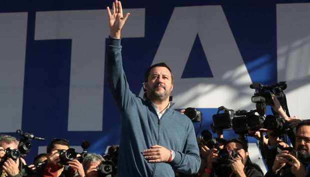 Matteo Salvini gestures during a rally in Rome