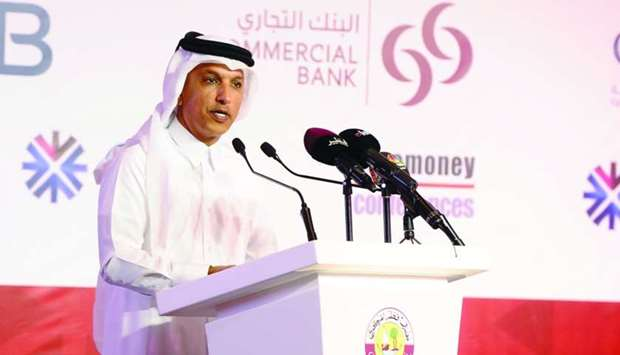 HE the Minister of Finance Ali Shareef al-Emadi addressing the opening session of the Euromoney Qata