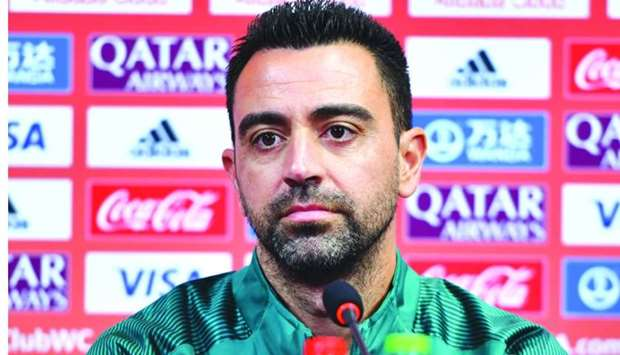 Al Sadd coach Xavi Hernandez addresses a press conference