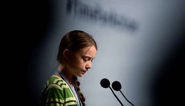 Swedish climate activist Greta Thunberg gives a speech during a high-level event on climate emergenc