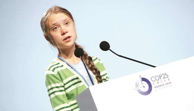 Climate change activist Greta Thunberg speaks at the High-Level event on Climate Emergency during th