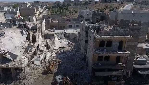 A general view of building destroyed in bombings in Idlib, Syria
