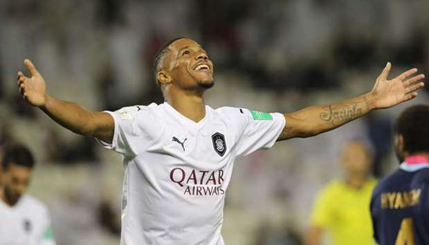 Al Sadd's Ro-Ro celebrates his goal during the FIFA Club World Cup Qatar 2019 match against New Cale