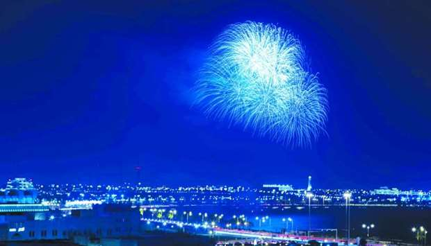A fireworks display lit up the evening sky above the Doha Corniche to mark the beginning of FIFA Clu