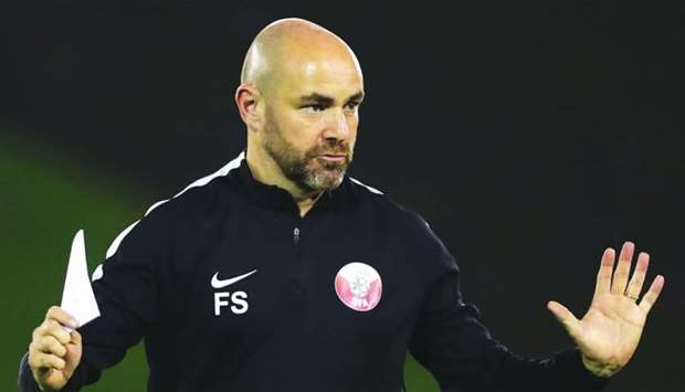Qatar coach Felix Sanchez during a training session in Doha on Sunday.