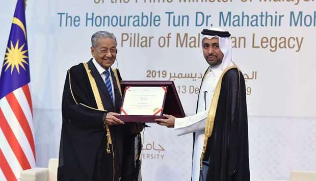Malaysian Prime Minister Dr Mahathir bin Mohamed receives honorary doctorate from Qatar University p