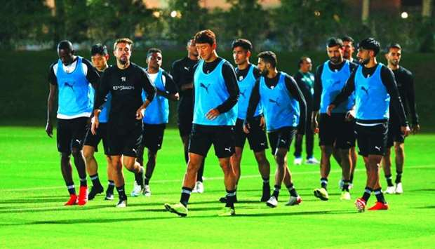 Al Sadd players train Friday on the eve of their FIFA Club World Cup quarter-final match against Mon