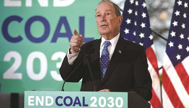 Bloomberg speaking about his plan for clean energy during a campaign event at the Blackwall Hitch re
